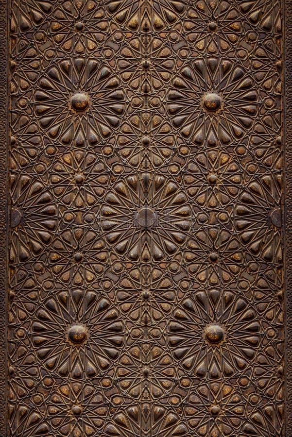 Decorative Islamic Wood Art Door stock images