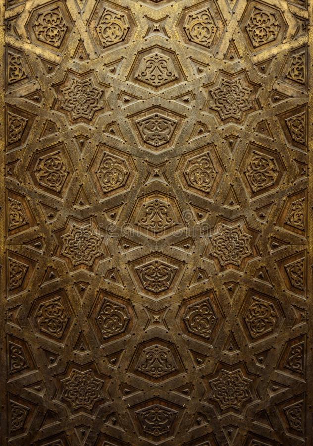 Decorative Islamic Wood Art Door royalty free stock photo