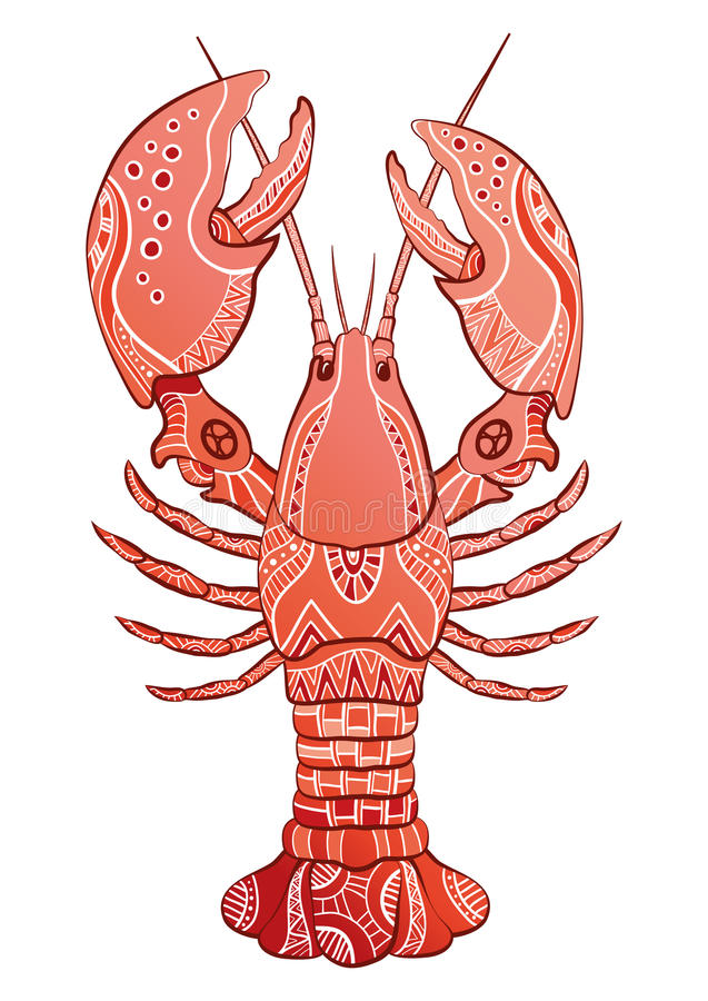 Decorative isolated lobster stock illustration