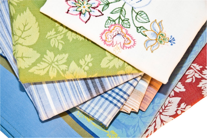Decorative Kitchen Linens. Different styles of fabric to use as kitchen hand towels stock photos