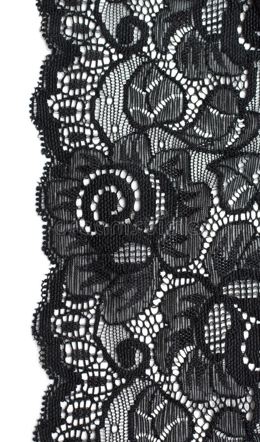Decorative lace with pattern. On white background stock photo
