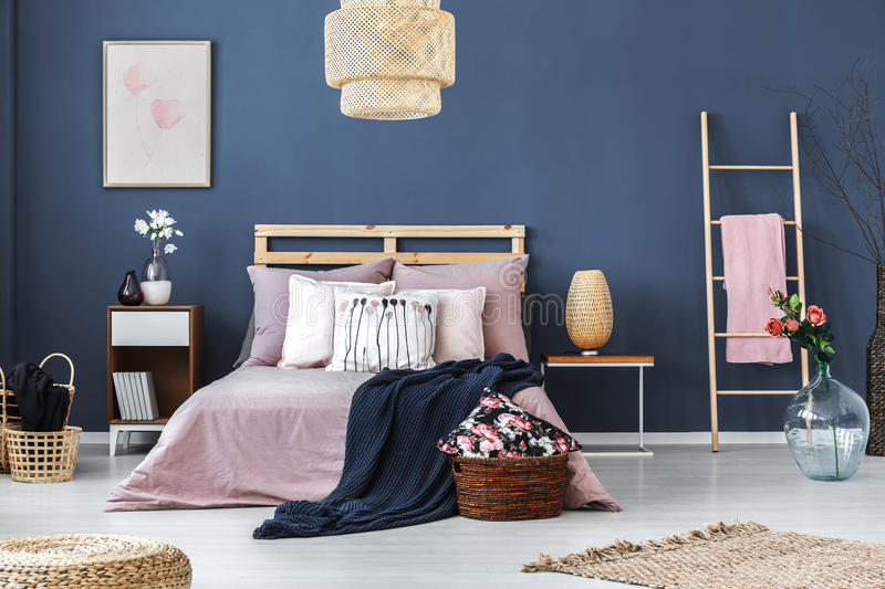 Decorative ladder in bedroom stock images