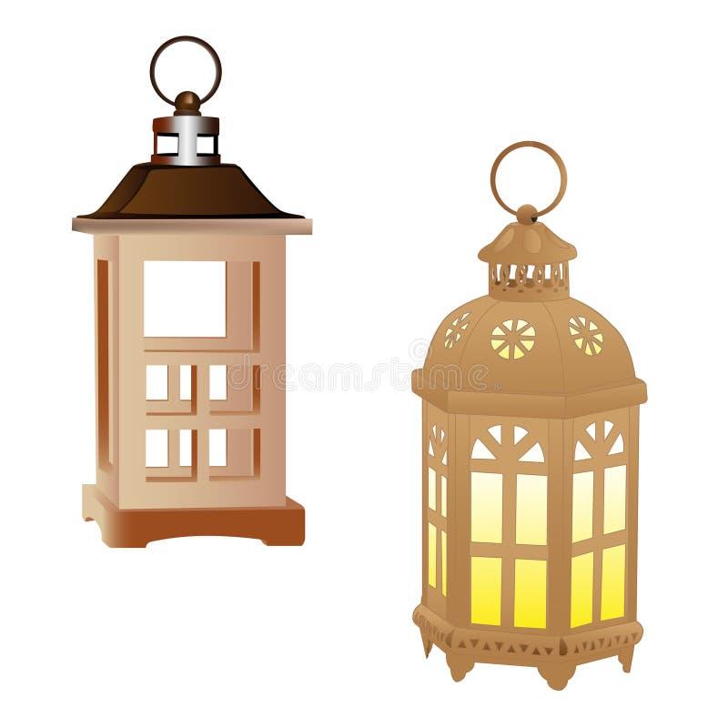 Decorative lamp isolated on white background. Vector illustration stock illustration