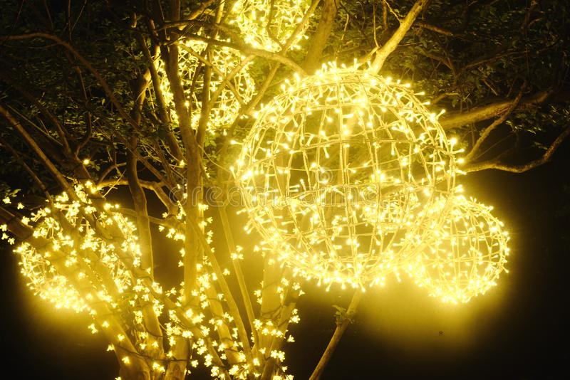 Decorative led fish light on the park tree. Decorative led fish lights on the park tree at night in holiday royalty free stock photos