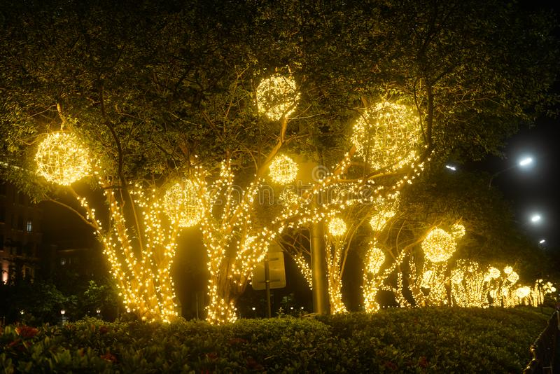 Decorative led fish light on the park tree. Decorative led fish lights on the park tree at night in holiday stock photos