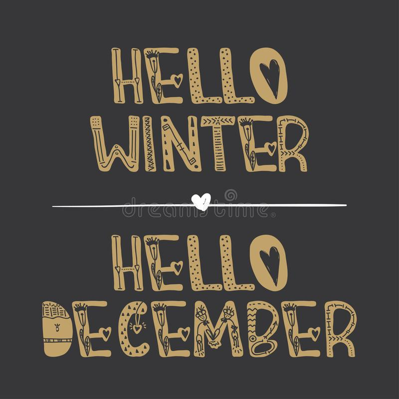 Decorative lettering collection Hello winter and Hello december . stock illustration