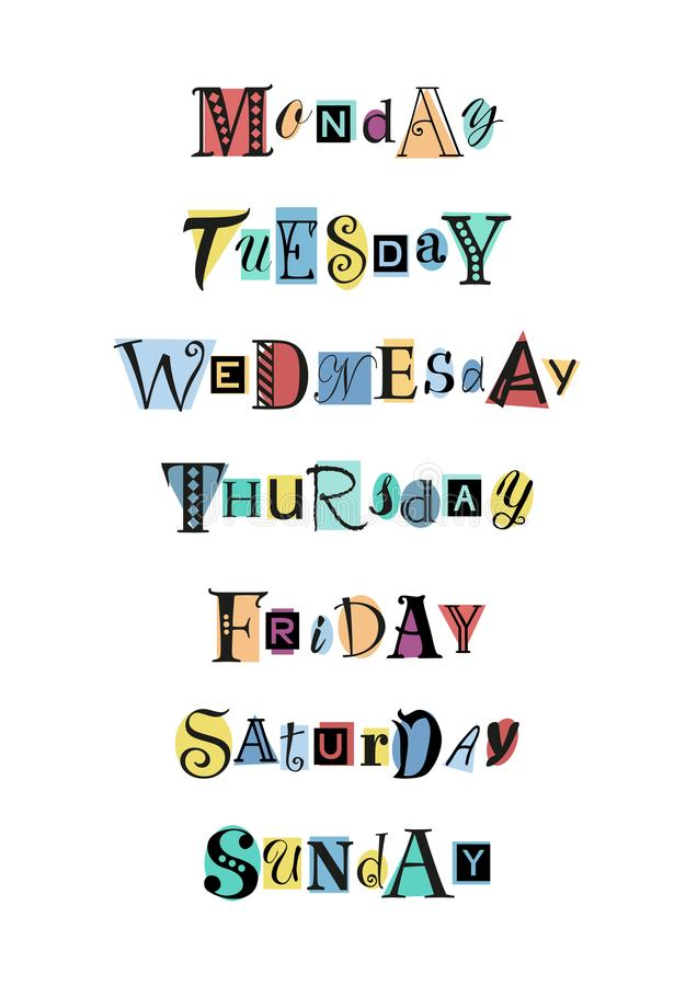 Decorative lettering of days of the week with different letters in black on colorful shapes royalty free illustration
