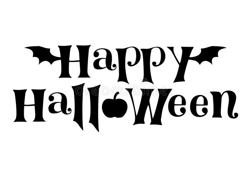 Decorative lettering of Happy Halloween in black decorated with bat wings and pumpkin isolated on white background stock illustration