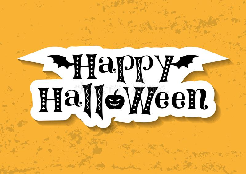 Decorative lettering of Happy Halloween in black decorated with bat wings and pumpkin in paper cut style on orange background royalty free illustration
