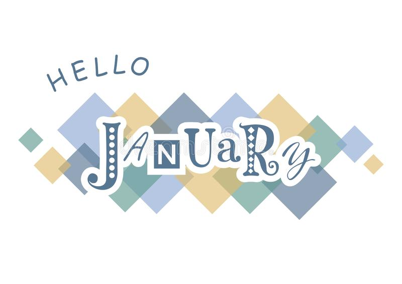 Decorative lettering of Hello January with different letters in blue with white outlines on white background with colorful squares royalty free illustration