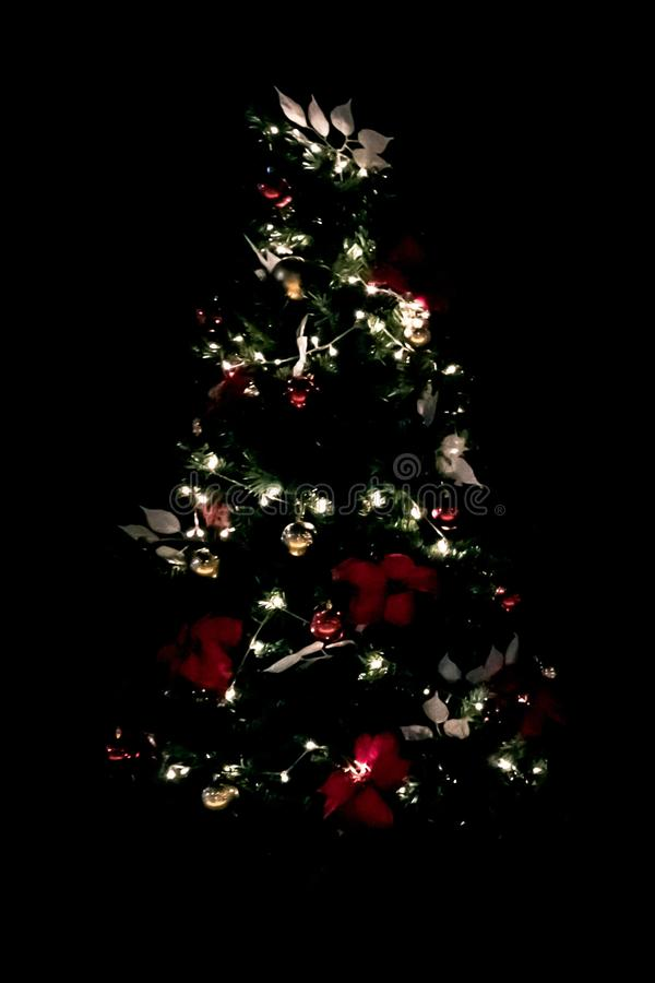 Free Decorative Lights Of Christmas Tree In The Dark Royalty Free Stock Photo - 133355245