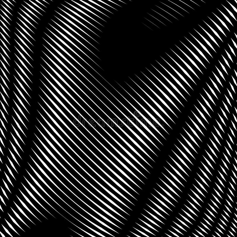 Decorative lined hypnotic contrast background. Optical illusion, creative black and white graphic moire backdrop. royalty free illustration