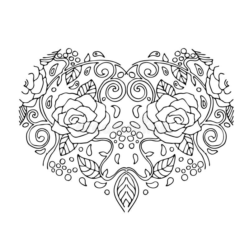download decorative love heart with flowers valentines day card coloring book for adult and - Coloring Page Valentines Day Card