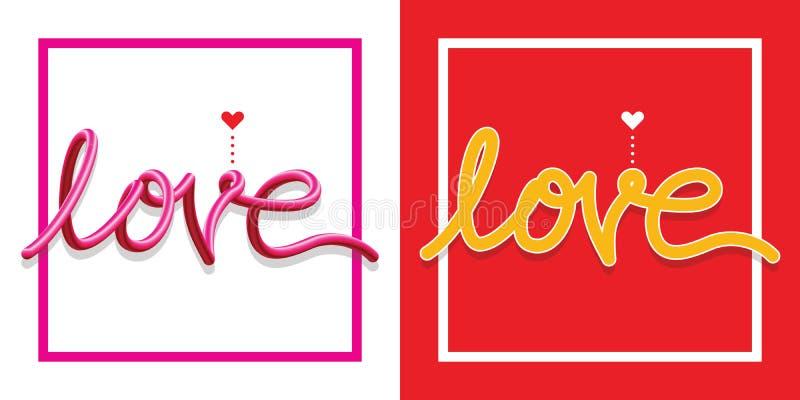 Love Symbols Text Happy Valentine Day Stock Vector Illustration Of