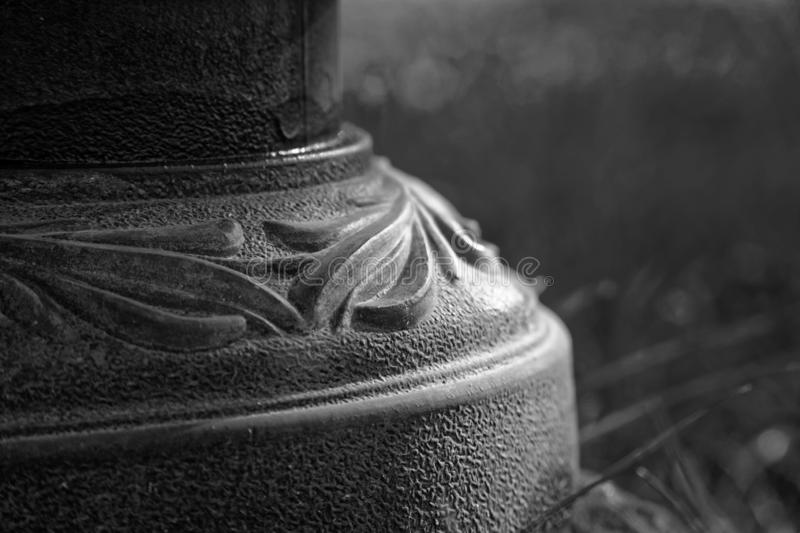 Decorative Macro close-up steel pillar, defocused background royalty free stock photography