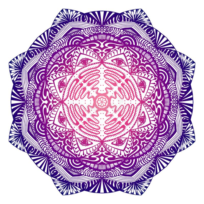 Decorative mandala with the all-seeing eye in the purple-pink colors stock illustration