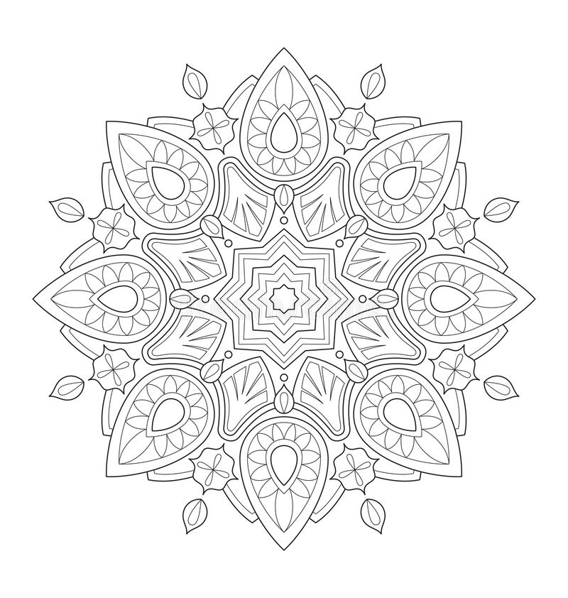 Decorative mandala illustration. For adult coloring, well arranged group and easy to edit vector illustration