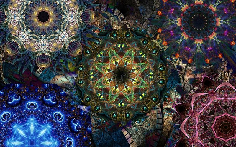 Decorative mandalas. Decorative background with mandalas for your project royalty free stock images