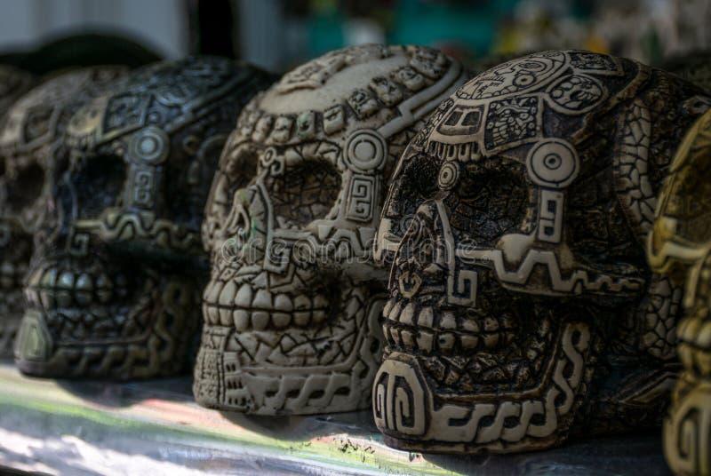 Decorative Mayan Skulls in Playa Del Carmen, Mexico royalty free stock photo