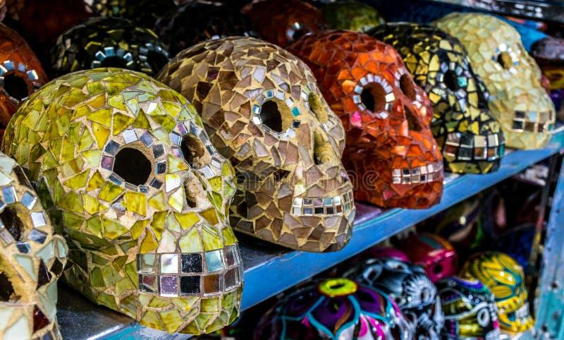 Decorative Mayan Skulls in Playa Del Carmen, Mexico stock photography