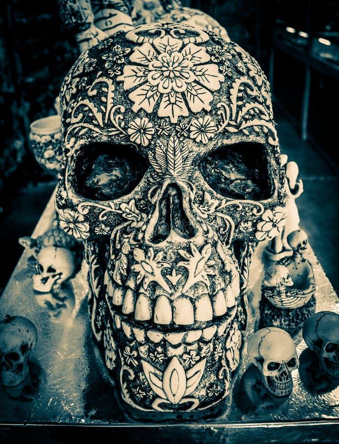 Decorative Mayan Skulls in Playa Del Carmen, Mexico stock photos