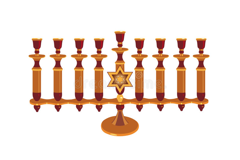 Decorative Menorah isolated stock illustration