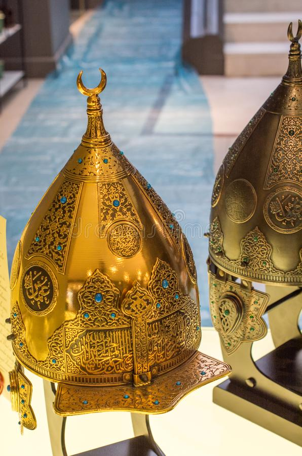 Decorative metal Helmets Of Warriors Of Turkish Ottoman Time royalty free stock image