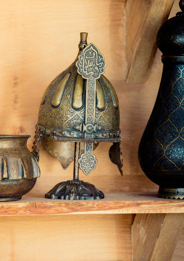 Decorative metal Helmets Of Warriors Of Turkish Ottoman Time stock images