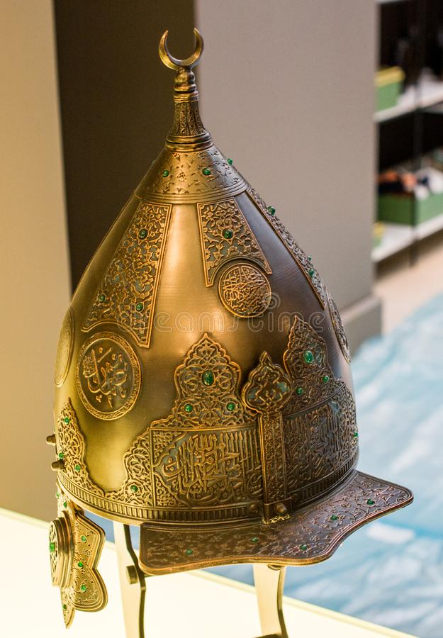 Decorative metal Helmets Of Warriors Of Turkish Ottoman Time royalty free stock photography