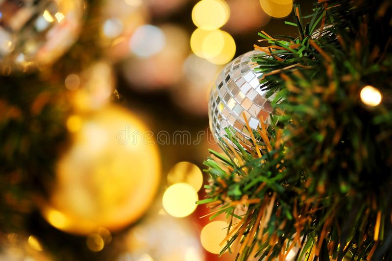 Decorative with mirror ball or Christmas ball for merry Christmas and happy new years festival with bokeh background. Have some space for write wording royalty free stock photo