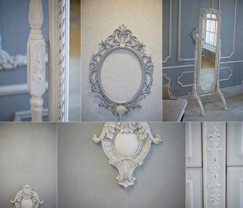 Decorative molding ornaments on the gray wall. Classic decor. Retro. Collage. Decorative molding ornaments on the gray wall. Classic decor. Retro stock images