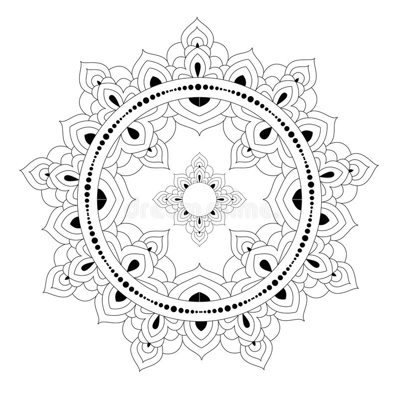 Decorative ethnic mandala pattern. Anti-stress coloring book page for adults. Unusual flower shape. Oriental vector. Decorative monochrome ethnic mandala pattern vector illustration