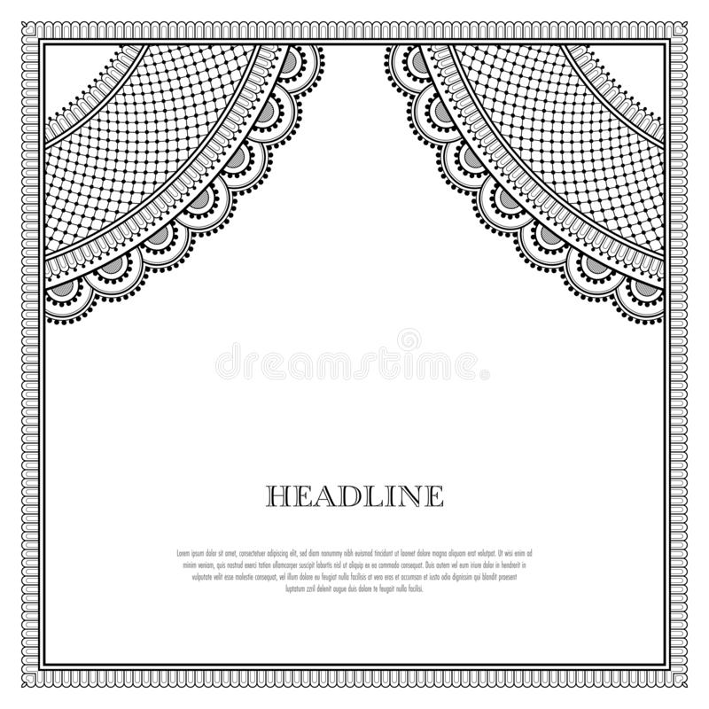Decorative oriental pattern. Decorative monochrome pattern in ethnic oriental style for greeting card, invitation, announcement or coloring book page royalty free illustration