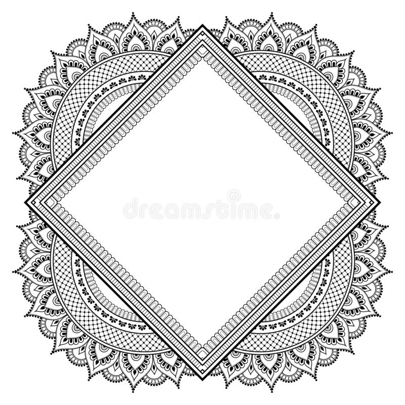 Decorative oriental pattern. Decorative monochrome pattern in ethnic oriental style for greeting card, invitation, announcement or coloring book page stock illustration