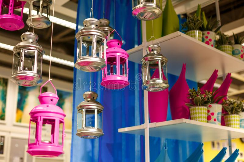 Decorative multi-colored lanterns candle holders stock photo