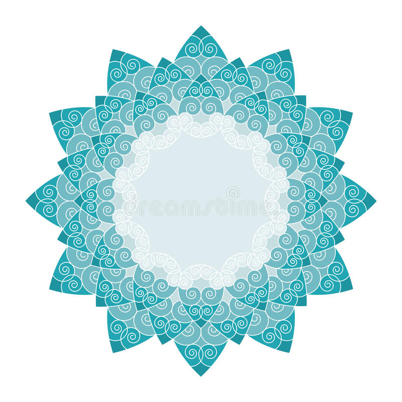 Decorative multicolor-turquoise line art flower stock images