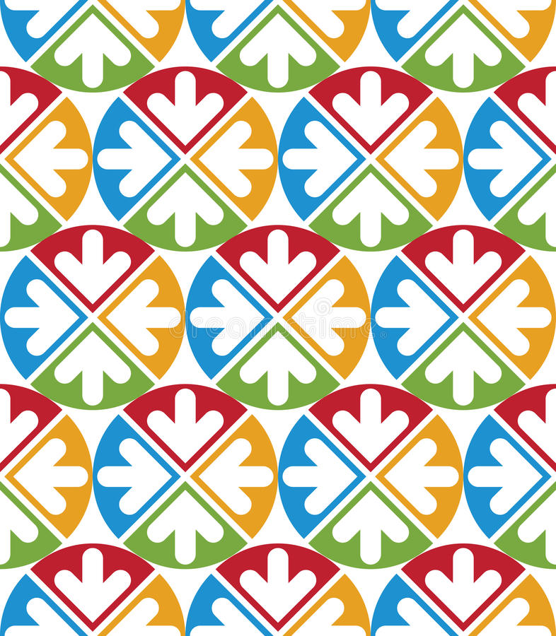 Decorative multicolored geometric seamless pattern with symmetric circles and arrows. Vector modern bright continuous texture, be stock illustration