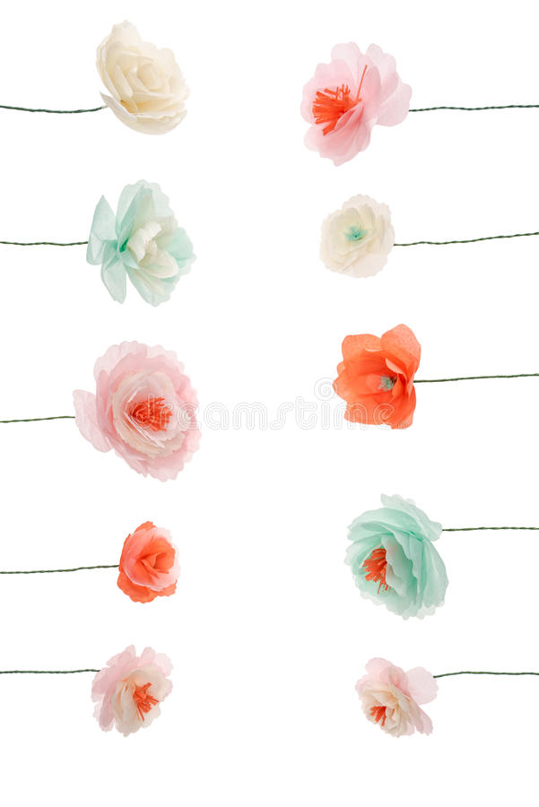 Decorative multicolored papercraft flowers arranged royalty free stock photo