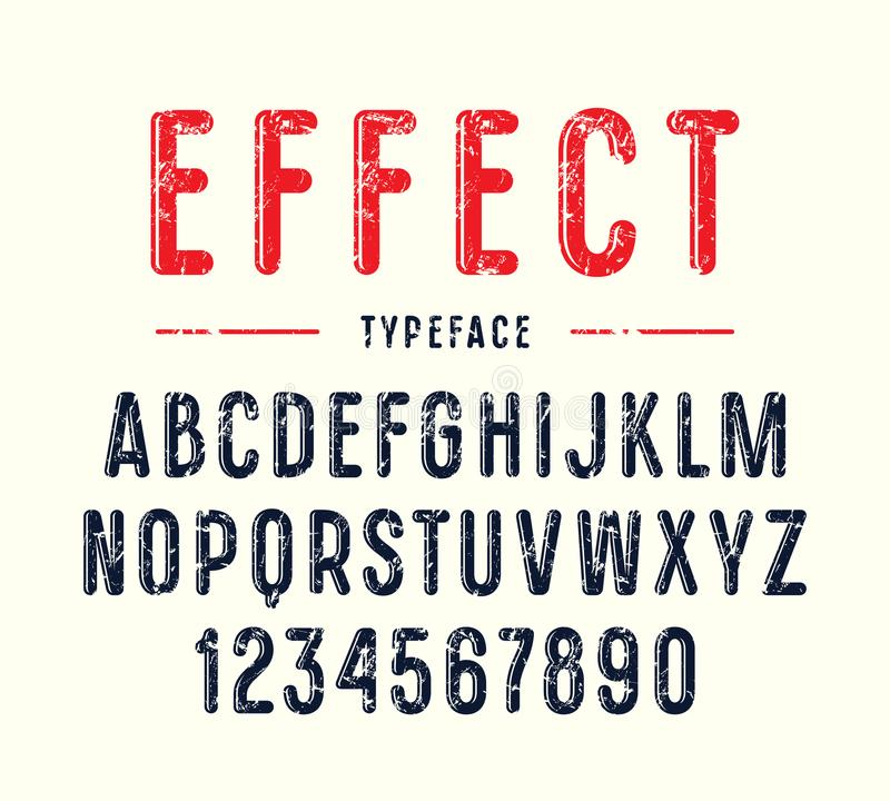 Decorative narrow sanserif font with rounded corners. Letters with rough texture stock illustration