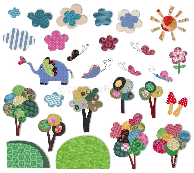 Decorative objects. Colorful quilt design with fabric and paper royalty free illustration