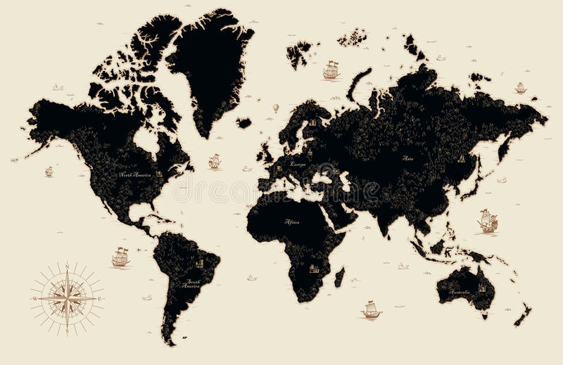 Decorative old map of the world stock illustration