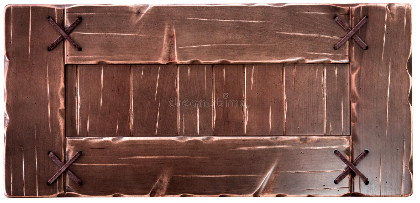 Decorative old wooden board isolated on white background. royalty free stock photography