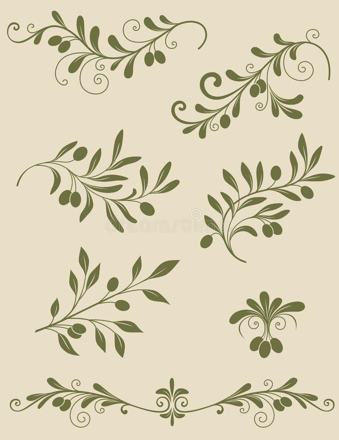 Decorative olive branch stock illustration