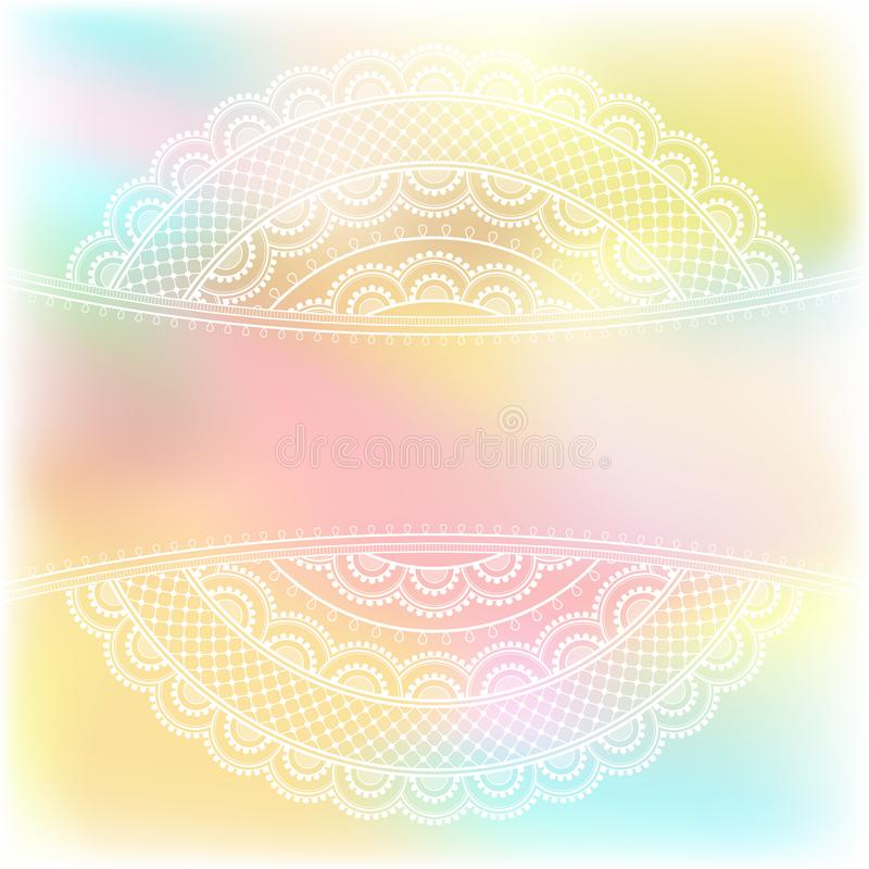 Decorative oriental pattern. Blurred pastel background with decorative pattern in ethnic oriental style on for greeting card, invitation or announcement vector illustration
