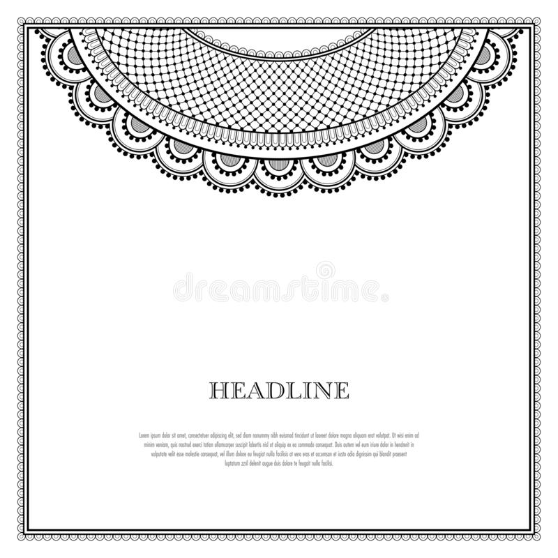 Decorative oriental pattern. Decorative monochrome pattern in ethnic oriental style for greeting card, invitation, announcement or coloring book page vector illustration