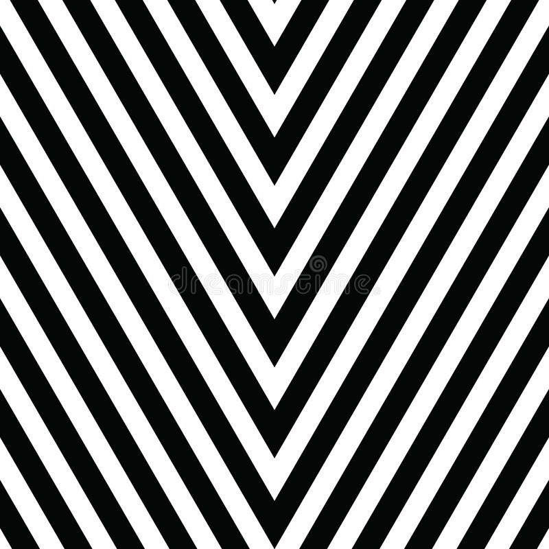 Decorative ornament, figurative design template with striped black white triangles. Background, texture with optical. Illusion effect. Decor for card tile stock illustration