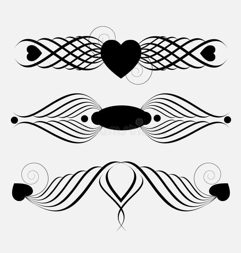 Decorative ornamental header elements vector illustration