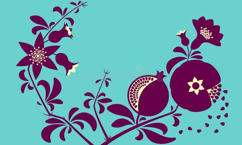 Decorative ornamental pomegranate branch. Flowering branch and pomegranate fruits. vector illustration