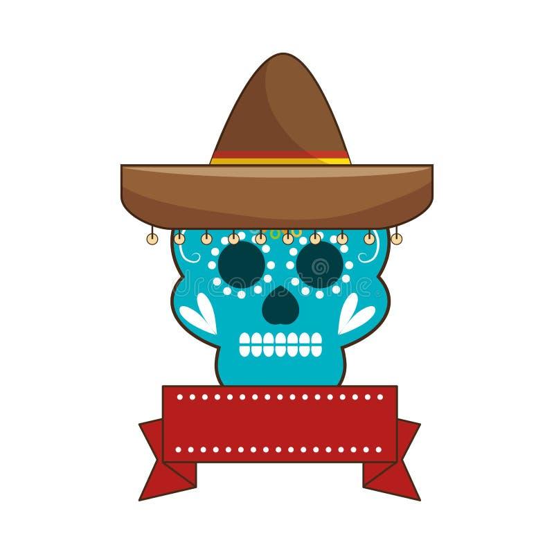 Decorative ornamental sugar skull with ribbon an mexican hat. Vector illustration royalty free illustration