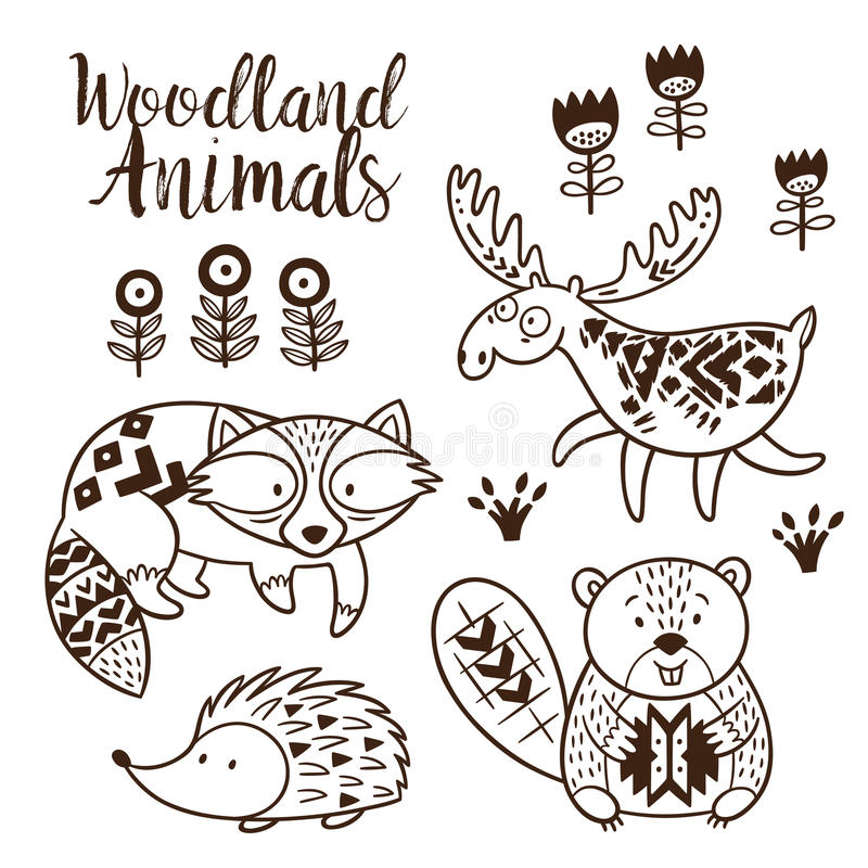 Download Decorative Ornamental Woodland Animals Vector Set Stock